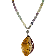 Carved Crane Pendant, Oval Rainbow Fluorite Beads, Necklace With Earrings