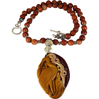 Carved Crane Pendant, With Red Jasper Beads, Earrings
