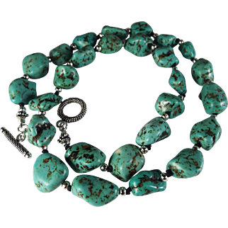 Turquoise Nugget Necklace, Earrings