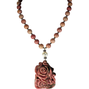 Rhodonite Rose Carved Pendant, With Rhodonite Beads, Necklace With Earrings