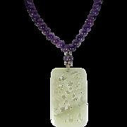 Openwork, Nephrite Jade, Amethyst Beads Necklace. Earrings