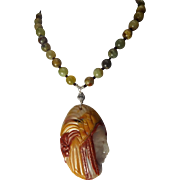 Carved Agate, Native American Pendant, Indian Agate Beads, Necklace With Earrings