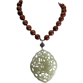 Open Work Nephrite Jade, Swooning Bird, Pendant, with Red Malachite Beads,Necklace , Earrings