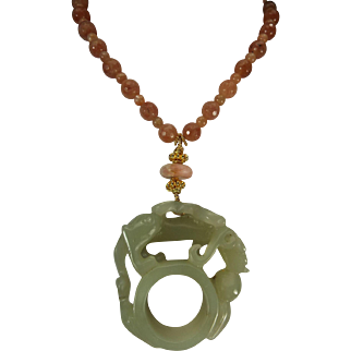 Carved Nephrite Jade, Chinese Archers Thumb Ring, Peach Moonstones, Necklace, Earrings