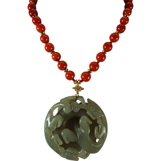Double Sided Hand Carved Dragon Nephrite Jade Pendant, Mediterranean Coral Beads