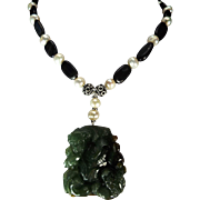 Carved Jadeite Pendant, Cultured Freshwater Pearls, With Tanzanite Necklace, Earrings