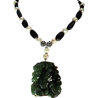 Carved Jadeite Pendant, Freshwater Pearls, With Tanzanite Necklace, Earrings