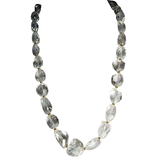 Natural Faceted Rock Crystal Necklace. Earrings
