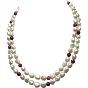10mm Cultured Freshwater Pearls, Natural Ruby Accents, 32 inches necklace, Earrings