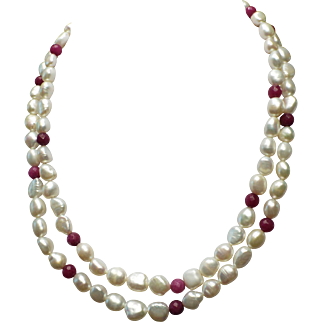 10mm Freshwater Pearls, Natural Ruby Accents, 32 inches, Earrings