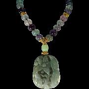 Handcarved, Translucent, Grade A Jadeite Floral Pendant, Fluorite beads, Earrings