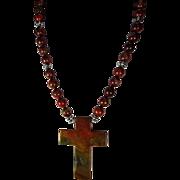 Jasper Cross Necklace, With Earrings