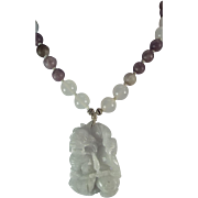 100% Natural Blue Jadeite Carved Foo Dog Pendant, White Nephrite And Lavender Stone Beads, Necklace, Earrings