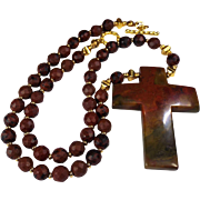 Flaming Jasper Faceted Beads, With Flaming Jasper Cross, Necklace PLus Earrings