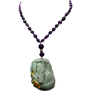 100% natural Blue Carved Jadeite Pendant With Natural Amethyst Necklace With Earrings