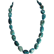Natural Turquoise Nugget Necklace, With Earrings