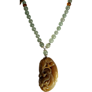 Aqua Marine Round Beads With Nephrite Jade Carved Pendant, Earrings