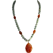 Certified Grade A Jadeite Round Beads, With Zodiac Carved Carnelian Pendant, Earrings