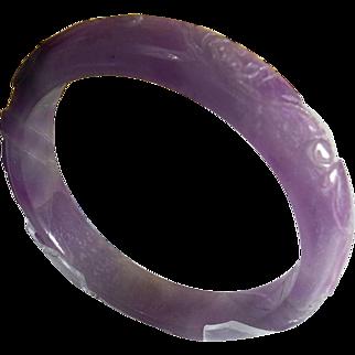 Older Lavender Nephrite Jade Carved Bangle
