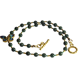 Imperial Green Jadeite With Vermeil Gold Spacers, Necklace Earrings