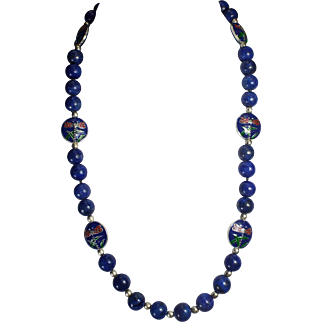 Exquisite, Natural Lapis Lazuli, With Dark Blue Cloisonne DragonFly Beads, Necklace Earrings