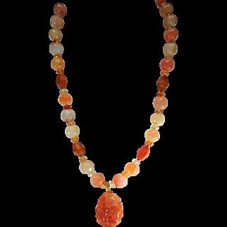 Faceted Carnelian Beads, With Carnelian Zodiac Pendant, Earrings