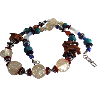 Asian, Peking Glass With  Box Wood Netsuke Necklace, Earrings