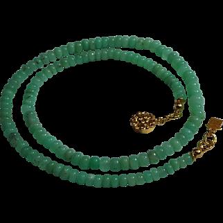 Apple Green, Top Quailty, Chrysoprase Rondelle Necklace