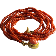 Very Old, 100% Natural, Dark Salmon Coral, Twisted Necklace