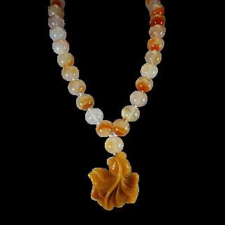 Certified 100% Natural Jadeite Fish Pendant, LIght Carnelian Beads, Necklace, Earrings