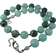 Natural Larimar With Dyed Blue Nephrite Jade Necklace, Earrings