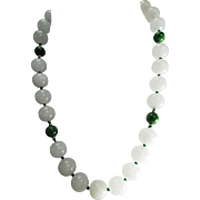 Large White Nephrite Jade, With Dyed Green Jade Beads, Necklace