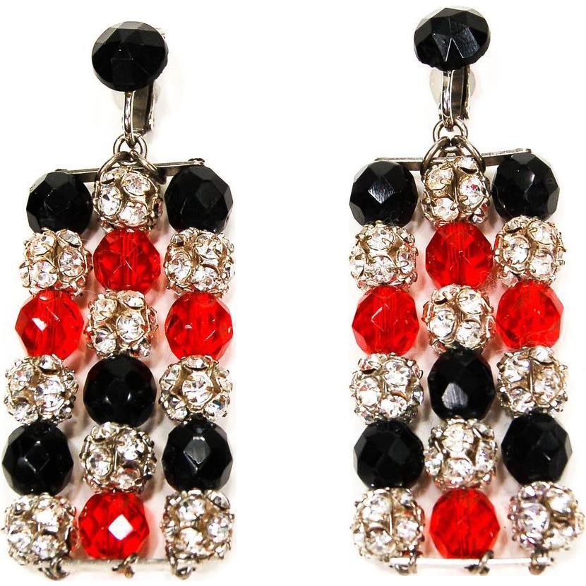 vintage rhinestone statement earrings black and