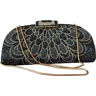 All-Over Glass Beaded Clutch in Black, Silver-tone, Gunmetal
