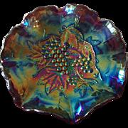 Royal Amethyst Peacock Carnival Glass Ruffled-Edge Dish