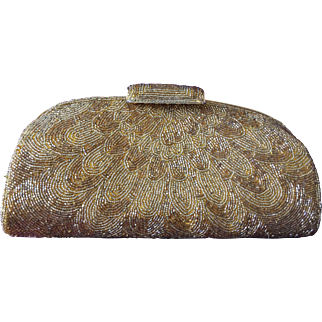 All-Over Glass Beaded Clutch in Gold-Tone