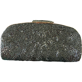 All-Over Glass Beaded Clutch in Gunmetal