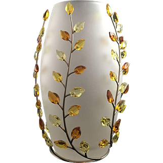 Swarovski Leaves Vase - Topaz
