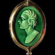 Arts & Crafts Door Knocker, Green Glazed Ceramic Tile with Brass Bezel