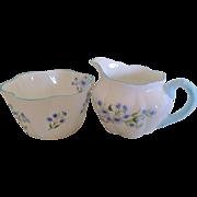 Shelley Dainty Blue Rock Cream and Sugar 13591