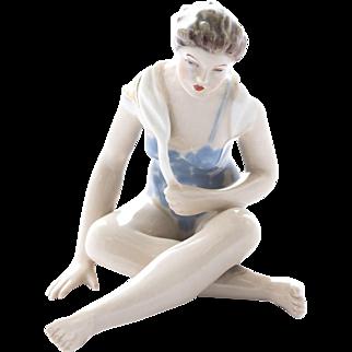 Sitting Woman, Royal Dux Porcelain Figure