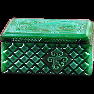 Bohemian Czech Art Deco Jade Malachite Glass Bowl Dose