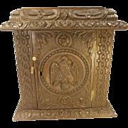 Antique Carved Oak Desktop Tidy Cabinet