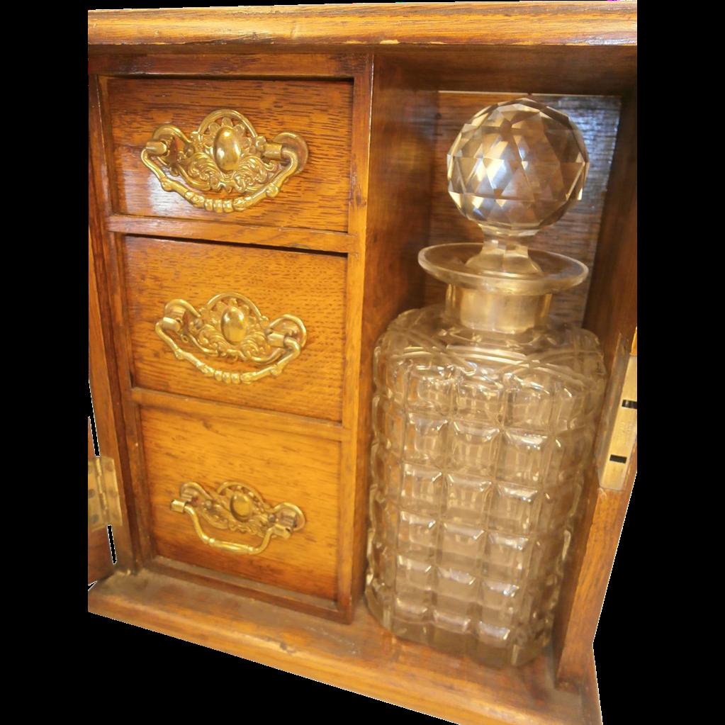 Antique Circa 1900 Oak Desktop Tantalus Cabinet Sold On