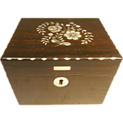 Antique French Rosewood Tea Caddy Box , Mother of Pearl inlay
