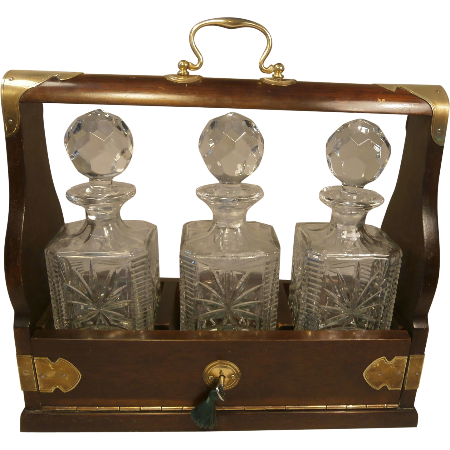 3 bottle tantalus decanter set sold on ruby lane. Black Bedroom Furniture Sets. Home Design Ideas