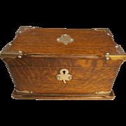 Antique Tiger Oak , Clover Tea Caddy Box