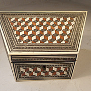 Antique inlaid Mosaic Desktop Letter Rack Box , Stationery Box