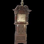 Antique Miniature Carved Oak Grandfather Clock