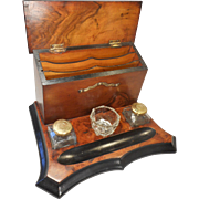 Antique Walnut Desktop Writing Stand , Inkwell Stand